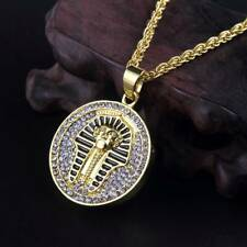 "Men's Hip Hop Gold Crystal Bling Egypt Pharaohs Pendant 27"" Long Chain Necklace"