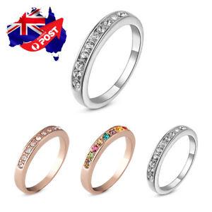 Wholesale 18K White Gold GP Lab Diamond Men Women Wedding Engagement Band Ring