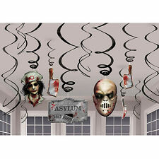 12 Assorted Halloween Asylum Horror Bloody Hanging Cutout Swirls Decorations
