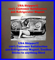 Porsche 356 CAR Pinup Girl 4X6 Photo Fridge Magnet BAR Tool Man Cave Decor SIGN