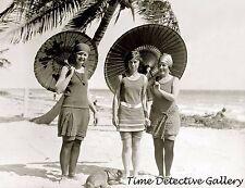 Beauties on the Beach with Parasols, Miami, Florida 1923 - Historic Photo Print