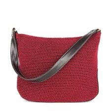 THE SAK Elliott Lucca Crochet Hobo Shoulder Bag Red Nylon-Leather Fashion Purse