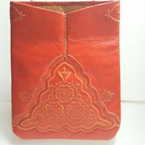 Vintage Red Leather Embroidered Shoulder Tote Bag Purse XL Boho Handmade Hippie