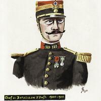 CHEF DE BATAILLON D INFANTERIE 1900 1910 Gouache Originale signée datée 1950