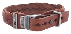 JA6120797 New Genuine FOSSIL S/S & Brown Leather Plaited Bracelet £45