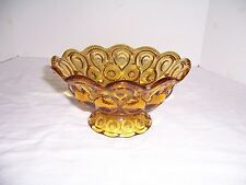 """Vintage L E Smith Moon & Stars 7"""" Bowl Footed Scalloped Amber"""