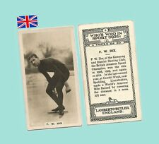1926 Uk Cigarette Card - Who's Who In Sport #5 - F.W. Dix Speed Skater Near Mint