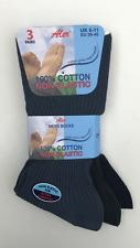 MENS WARM 100% COTTON NON ELASTIC DIABETIC SOCKS 3 PAIRS BROWN, NAVY,GREY 6-11