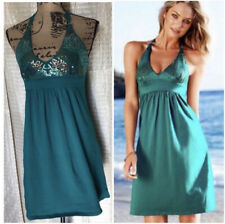 Victoria's Secret Bra Top Swim Coverup Sequin Halter Dress Size XS Teal Green
