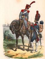 Gravure XIXe Train d'Artillerie Napoléon Bonaparte Garde Impériale 1840