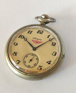 Vintage Molnija (Молния) Cal. 3602 Locomotive Train Pocket Watch - MADE IN USSR
