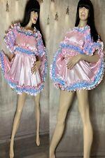 Silky Soft Shiny Luxury Satin ~ Sissy Maid Ruffle Dress/Short Night Gown - Pink