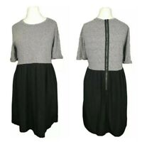 Topshop Black Grey Jersey Stretch Floaty Skater Casual Fit & Flare Dress Size 12