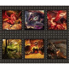 Dragon Panel by In The Beginning-1 Yd. Panel-6 Different Dragons in Squares