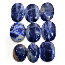 9 Pcs/344 Cts Natural Sodalite Untreated Beautiful Oval Cabochon Gems~ 30mm-35mm