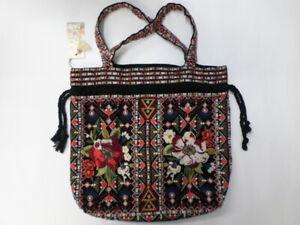 NWT Johnny Was JWLA Beatriz Drawstring Pouch Linen Bag - OL33421120