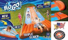 Inflatable Triple Water Slide Pool Splash Kids Backyard Park Play Fun Outdoors