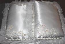 Bride & Groom Wedding Kneeling Pillows White Satin & Ring Bearer Pillows