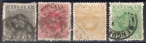 ANGOLA PORTUGAL 1870/7 STAMP Sc. # 1, 3/4 AND 6 PERF: 12 1/2 USED