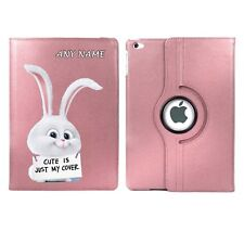 Cute Is Just My Cover Bunny Rabbit Personalised iPad 360 Rotating Case Birthday