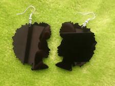 Beautiful laser cut acrylic earrings Soul Sista Afro silhouette in black