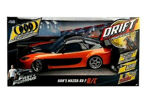 Jada Toys R/C Car Orange Fast & Furious 1:10 Scale Drift Mazda RX-7 Han's Car