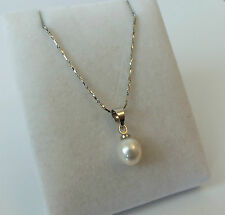 18ct White Gold Plated Freshwater Pearl Drop Pendant Necklace.