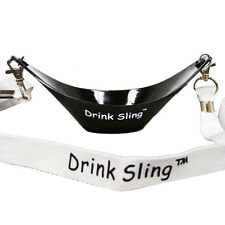 Black Hands Free Wine Glass Holder w/ White Simple Lanyard