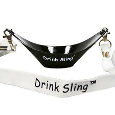 Black Hands Free Wine Glass Holder w/ White Simple Lanyard x 2 sets