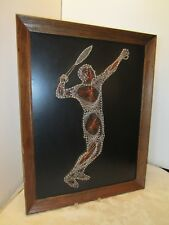 """Vtg Mid Century String & Nail Copper Wire Wall Art Tennis Player Sports 27"""" big"""