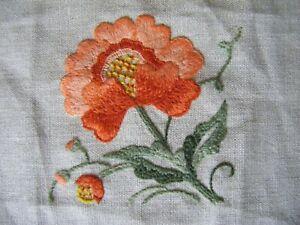 Handmade Vintage Embroidered Applique Panel Embellishment Floral Sampler Piece