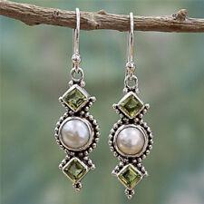 Vintage Square Green Crystal Pearl & Jade Green Stone Dangling Drop Earrings