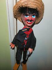 Vintage Mexican Puppet  Gunslinging Bandit ,