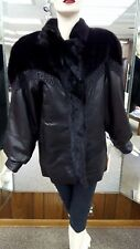 Leather Jacket with Ranch Mink Fur and Mink Sections Liner  - size 12