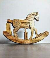 """Vintage Wooden Rocking Horse 8"""" Tall  With Moveable Legs and Tail Hand-Made"""