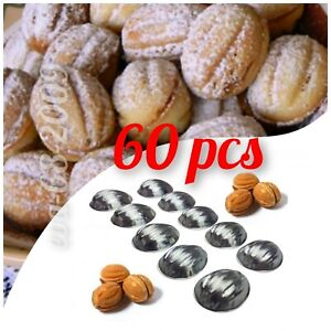 Sets 60 pcs Metal Mold Forms For Sweet Russian Oreshki Pastry Cookie Nutlets