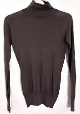 ZARA SILK AND COTTON LIGHTWEIGHT HIGH NECK JUMPER IN BROWN OR OLIVE-TAUPE SMALL