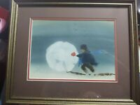 Print Double Matted Framed Boy Making Big Snowball Child Play Snow Winter Fun