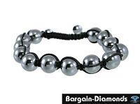 shamballa 10 mm gunmetal hematite natural stone black macrame hip hop bracelet