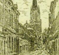 Georg Heinrichs (1954) Radierung: DIE:MARIEN-BASILIKA ZU KEVELAER