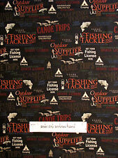 Camp Fish Words Fabric ~ 100% Cotton By Yard ~ Windham Outdoor Life #35478-2