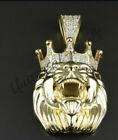 Halloween gift 1 Ct White Round Sim Diamond Lion Head Crown Pendant 925 Silver