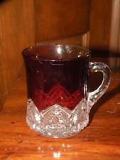 ANTIQUE EAPG SOUVENIR RUBY Flash GLASS MCKEE HEART BAND mug cup Fowling Creek MD