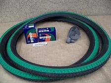 [2] 26'' X 2.10 BLACK & GREEN MOUNTAIN BIKE TIRES , [2] TUBES & [2] LINERS