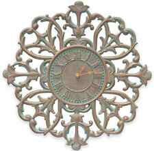 Copper Verdigris Filigree Wall Clock Rustic Charm, In & Out Home Art Decor Large