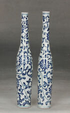 A pair Exquisite Chinese Blue and white porcelain vase painting flowers