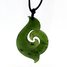 NICE NEPHRITE JADE NEW ZEALAND MAORI FISH HOOK & KORU GREENSTONE PENDANT
