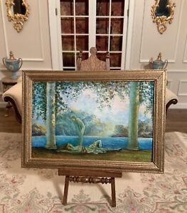 "Dollhouse Miniature Artisan Signed Josephine Meyer ""Daybreak"" Oil Painting (r)"