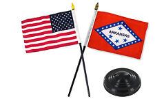 "Arkansas State w/ USA America American Flag 4""x6"" Desk Set Black Base"