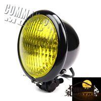 Black H4 Vintage Headlight Lamp Amber Lens Head Light For Harley Bobber Chopper